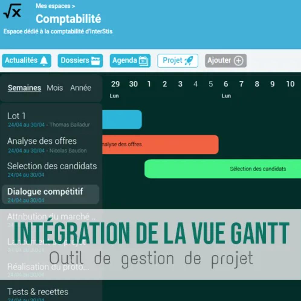 Illustration article La vue GANTT s'ajoute à l'outil de gestion de projet
